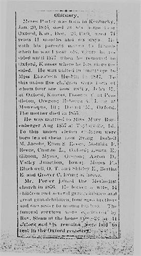 Daniel Marion PORTER  1855-1925 Obituary