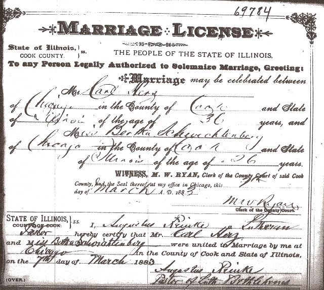Marriage License of Carl HERZ and Bertha SCHWICHTENBERG March 7, 1883