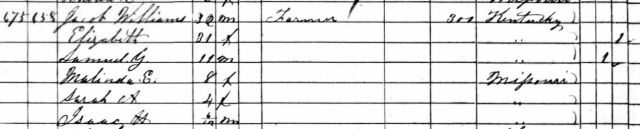 1860 Census for Jacob and Elizabeth WILLIAMS