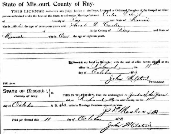 Cortes and Sarah Smith Marriage Certificate