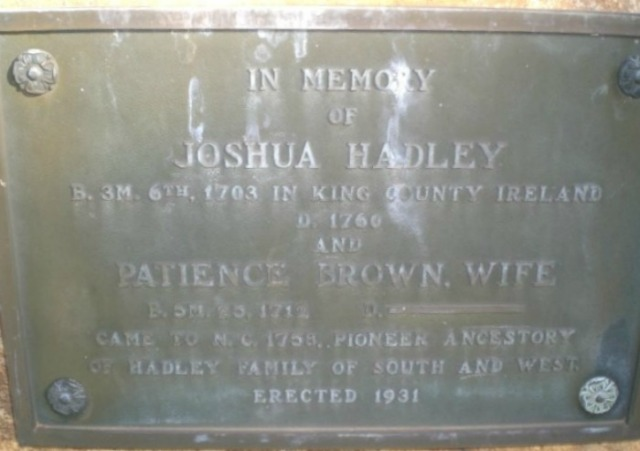Joshua Hadley and Patience Brown Tombstone Up Close